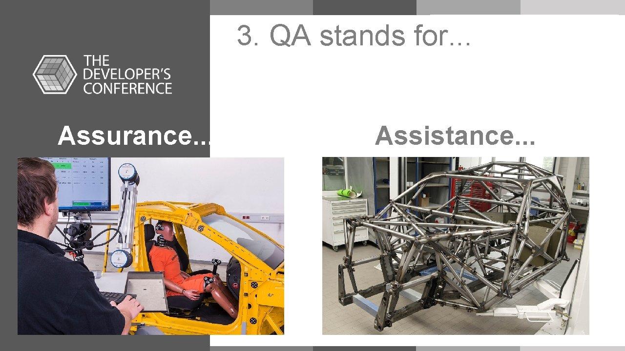 3. QA stands for. . . Assurance. . Assistance. . . Seu Título Tópico