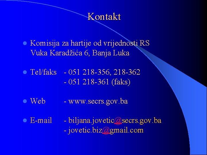 Kontakt l Komisija za hartije od vrijednosti RS Vuka Karadžića 6, Banja Luka l