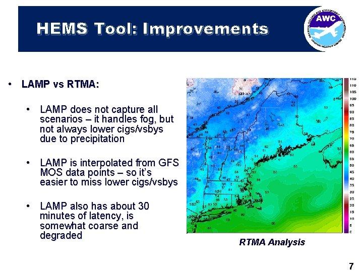 HEMS Tool: Improvements • LAMP vs RTMA: • LAMP does not capture all scenarios
