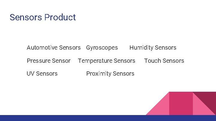 Sensors Product Automotive Sensors Gyroscopes Pressure Sensor UV Sensors Humidity Sensors Temperature Sensors Proximity