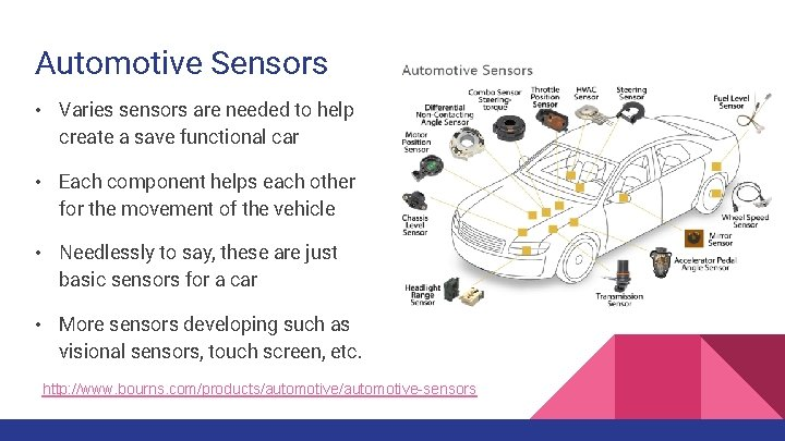 Automotive Sensors • Varies sensors are needed to help create a save functional car