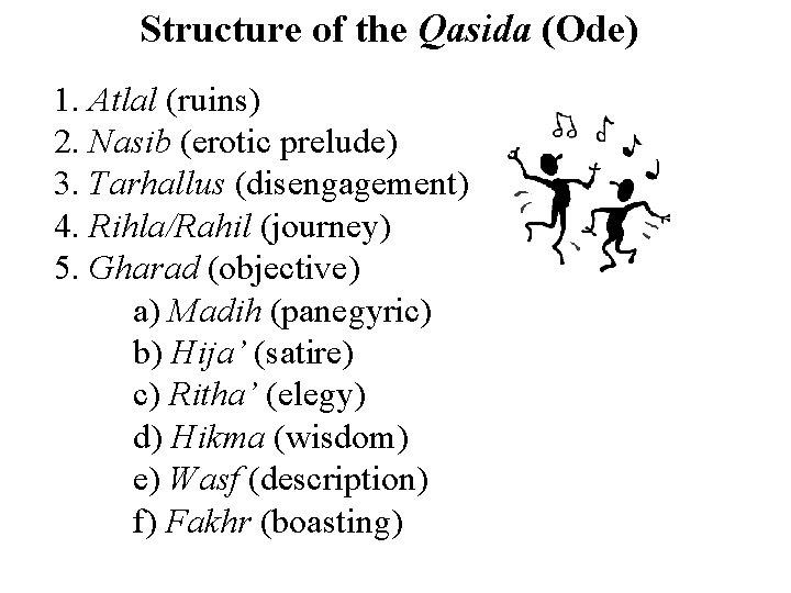 Structure of the Qasida (Ode) 1. Atlal (ruins) 2. Nasib (erotic prelude) 3. Tarhallus