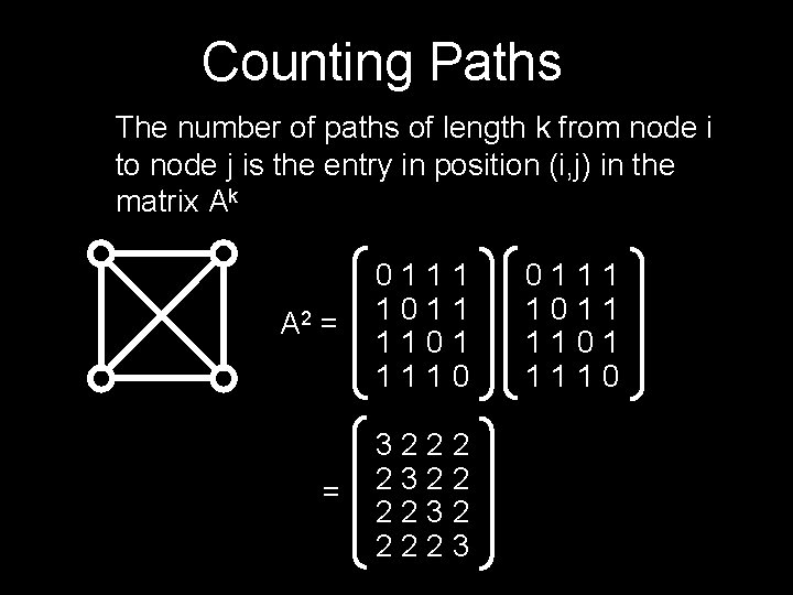 Counting Paths The number of paths of length k from node i to node