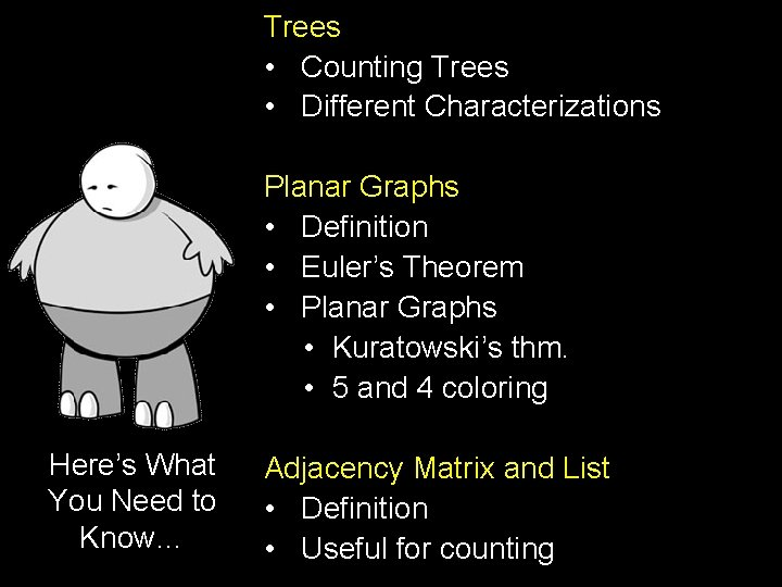 Trees • Counting Trees • Different Characterizations Planar Graphs • Definition • Euler's Theorem