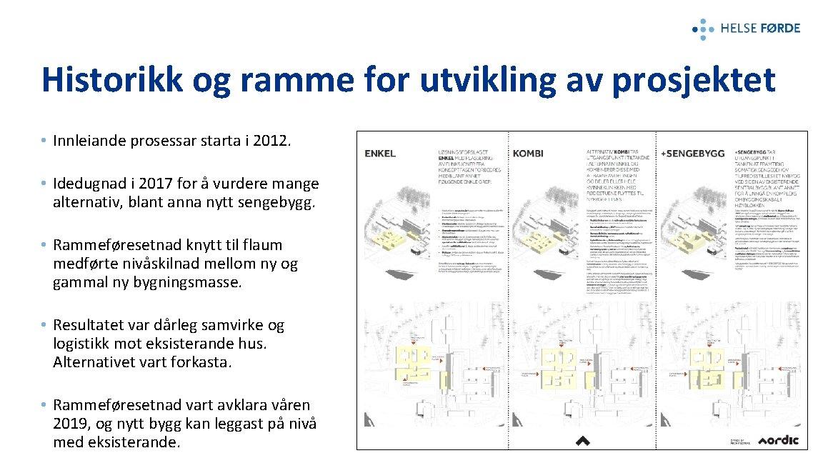Historikk og ramme for utvikling av prosjektet • Innleiande prosessar starta i 2012. •