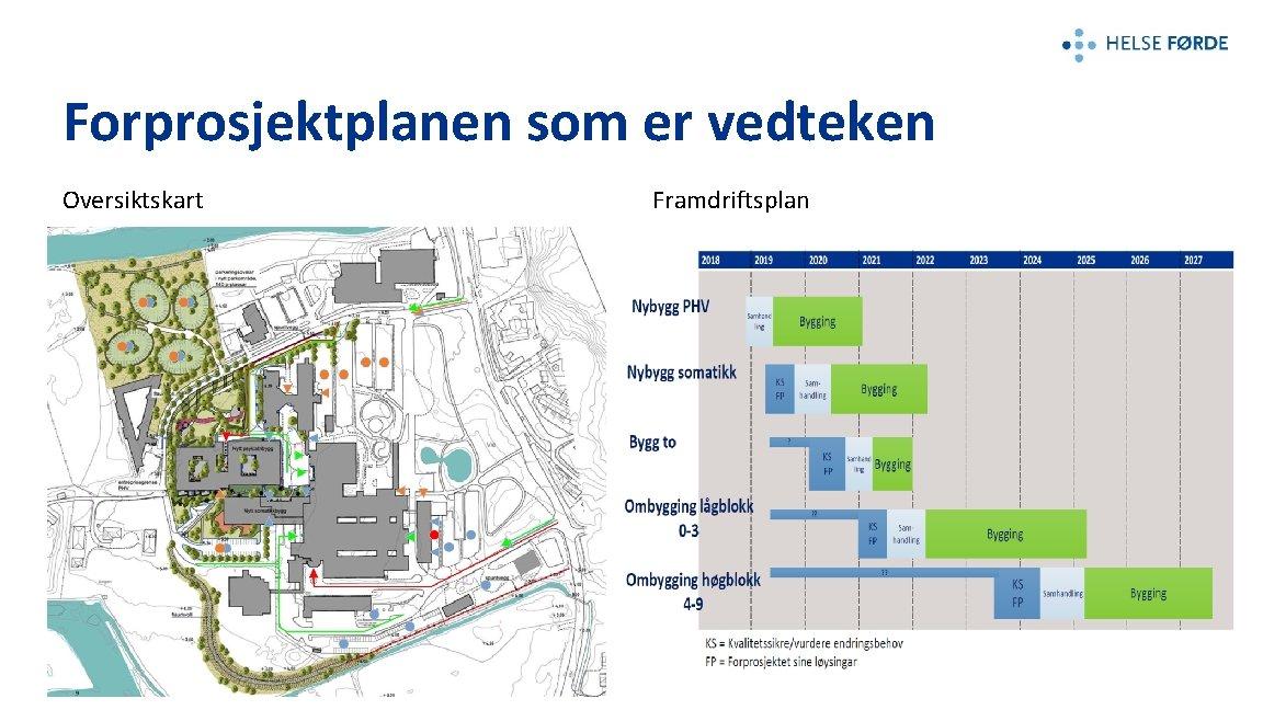 Forprosjektplanen som er vedteken Oversiktskart Framdriftsplan