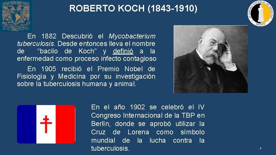 ROBERTO KOCH (1843 -1910) En 1882 Descubrió el Mycobacterium tuberculosis. Desde entonces lleva el