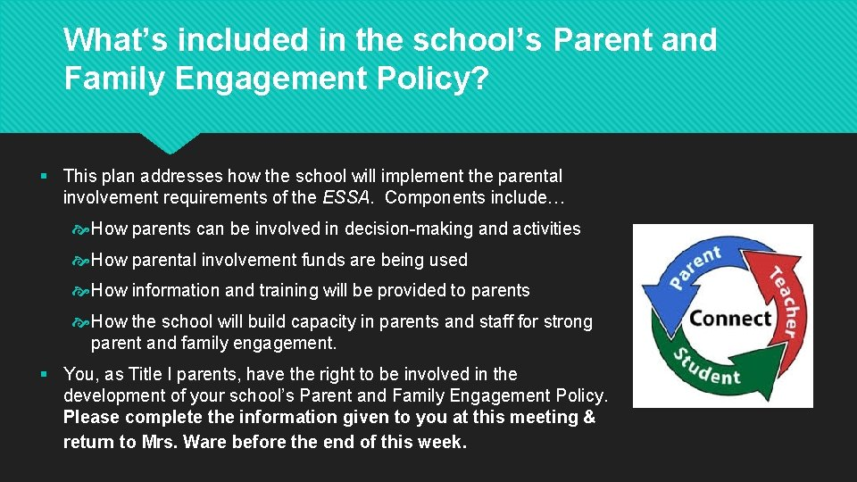 What's included in the school's Parent and Family Engagement Policy? § This plan addresses