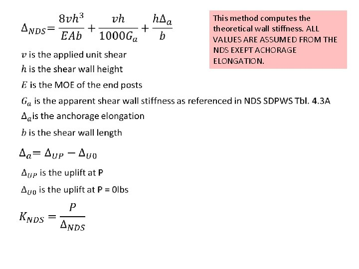 This method computes theoretical wall stiffness. ALL VALUES ARE ASSUMED FROM THE NDS