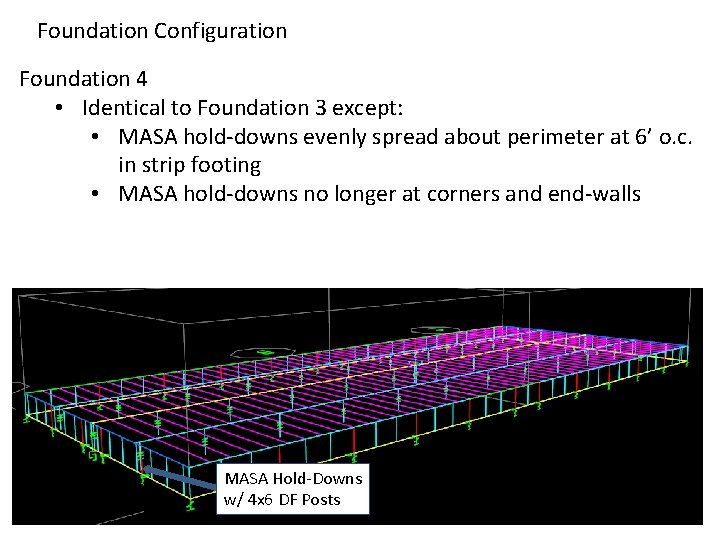 Foundation Configuration Foundation 4 • Identical to Foundation 3 except: • MASA hold-downs evenly