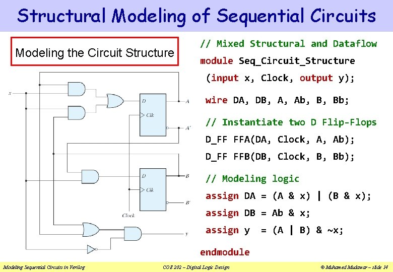 Structural Modeling of Sequential Circuits Modeling the Circuit Structure // Mixed Structural and Dataflow