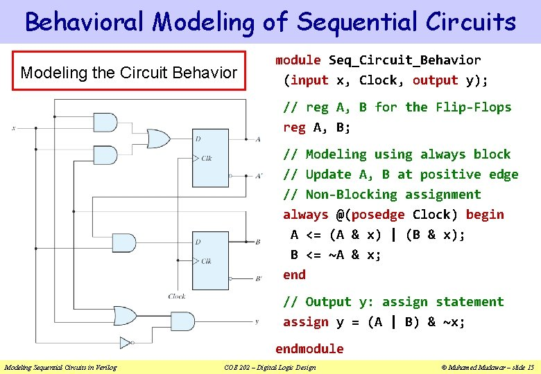 Behavioral Modeling of Sequential Circuits Modeling the Circuit Behavior module Seq_Circuit_Behavior (input x, Clock,