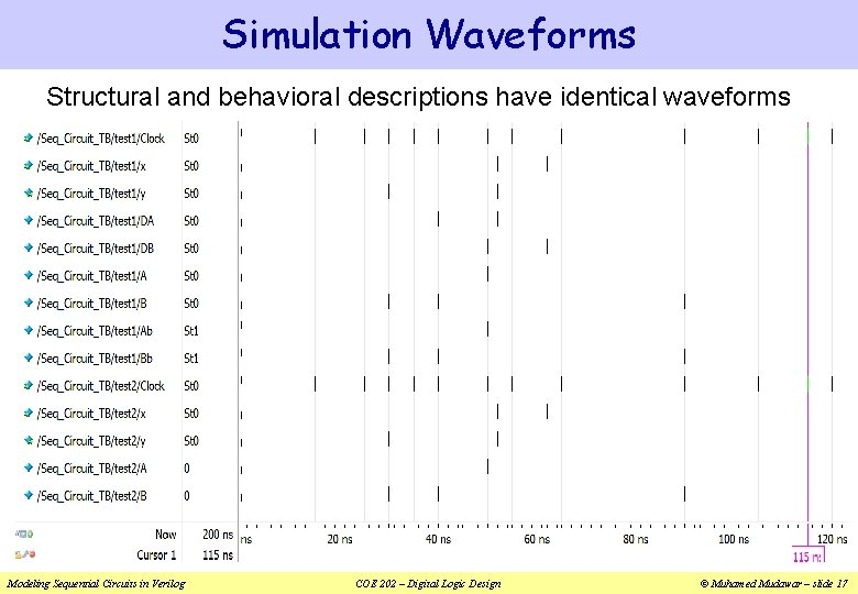 Simulation Waveforms Structural and behavioral descriptions have identical waveforms Modeling Sequential Circuits in Verilog