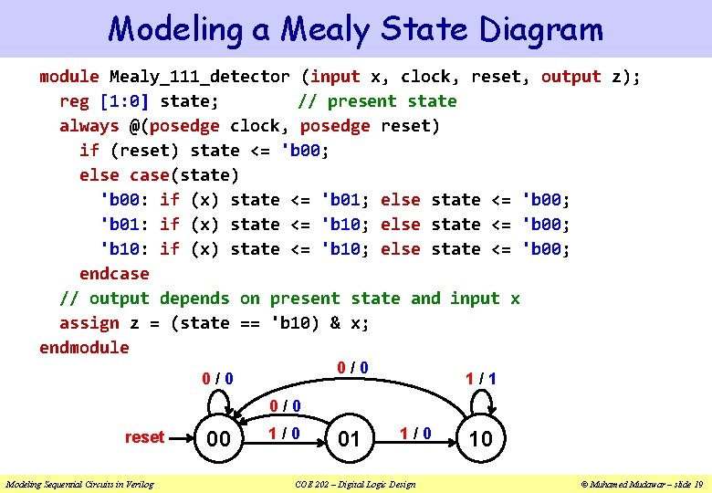 Modeling a Mealy State Diagram module Mealy_111_detector (input x, clock, reset, output z); reg