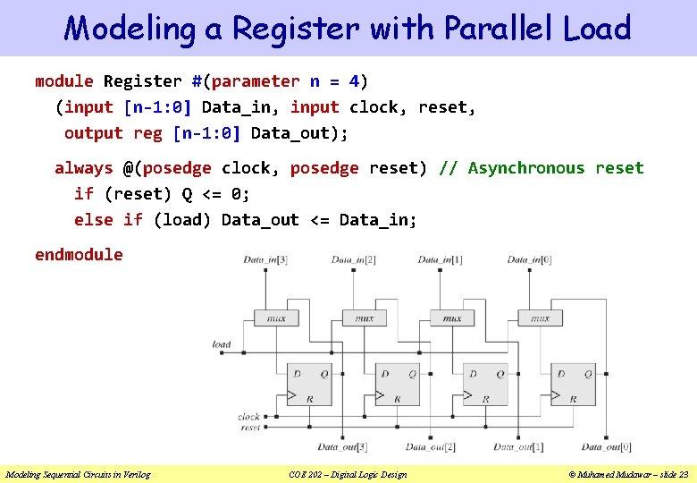 Modeling a Register with Parallel Load module Register #(parameter n = 4) (input [n-1:
