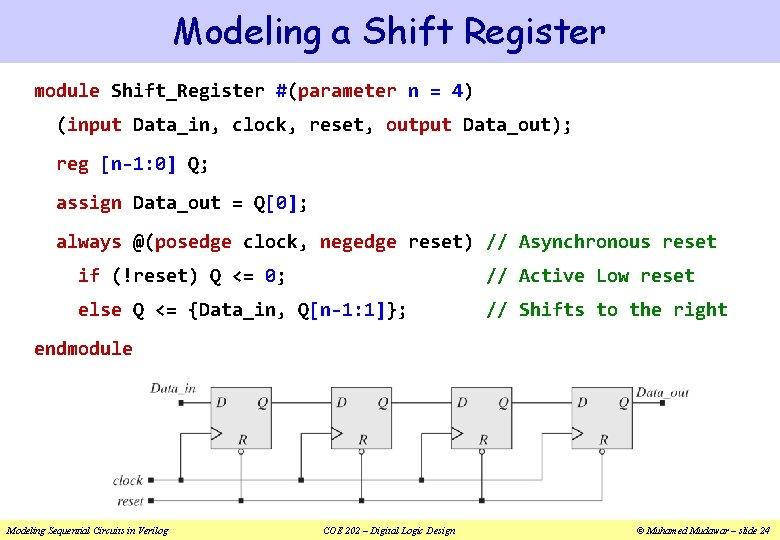 Modeling a Shift Register module Shift_Register #(parameter n = 4) (input Data_in, clock, reset,