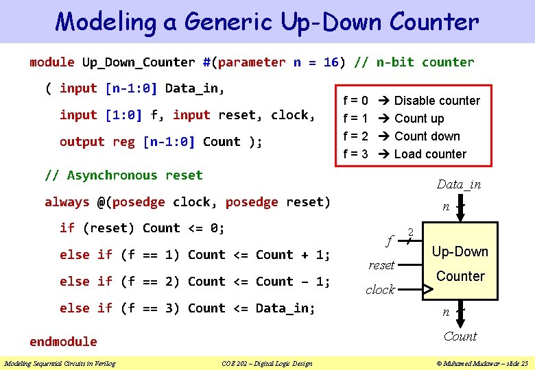 Modeling a Generic Up-Down Counter module Up_Down_Counter #(parameter n = 16) // n-bit counter