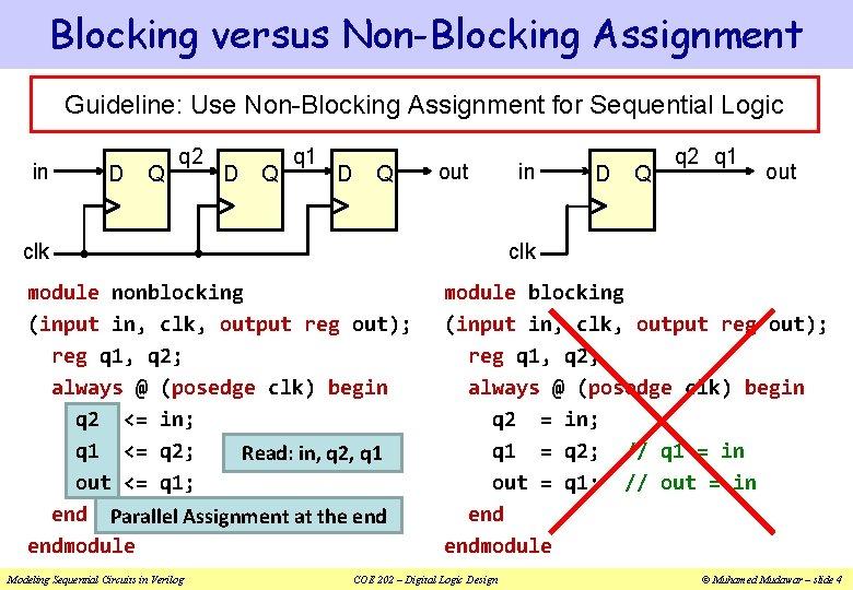 Blocking versus Non-Blocking Assignment Guideline: Use Non-Blocking Assignment for Sequential Logic in D Q
