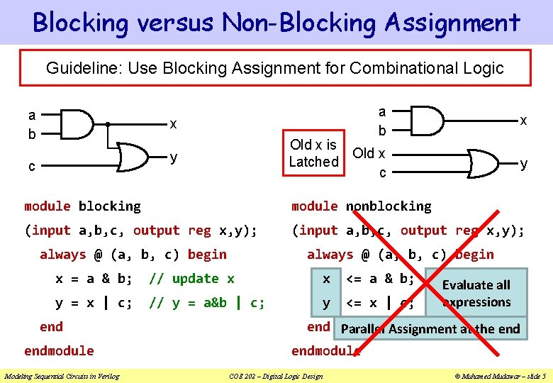 Blocking versus Non-Blocking Assignment Guideline: Use Blocking Assignment for Combinational Logic a b x