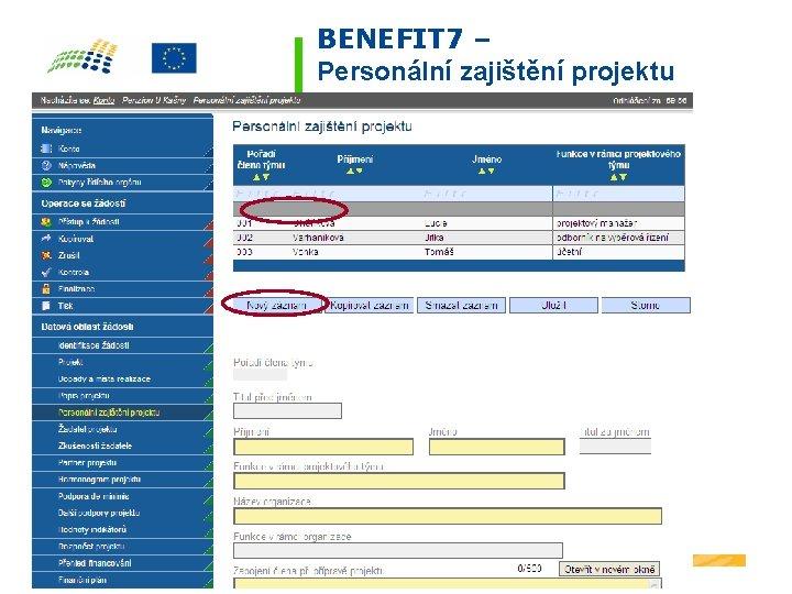 BENEFIT 7 – Personální zajištění projektu