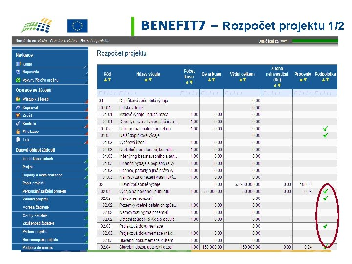 BENEFIT 7 – Rozpočet projektu 1/2