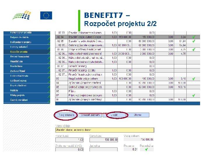 BENEFIT 7 – Rozpočet projektu 2/2