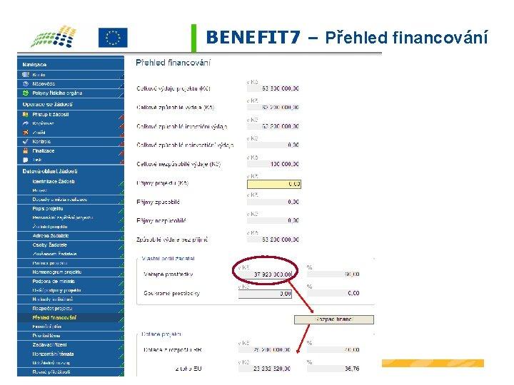 BENEFIT 7 – Přehled financování