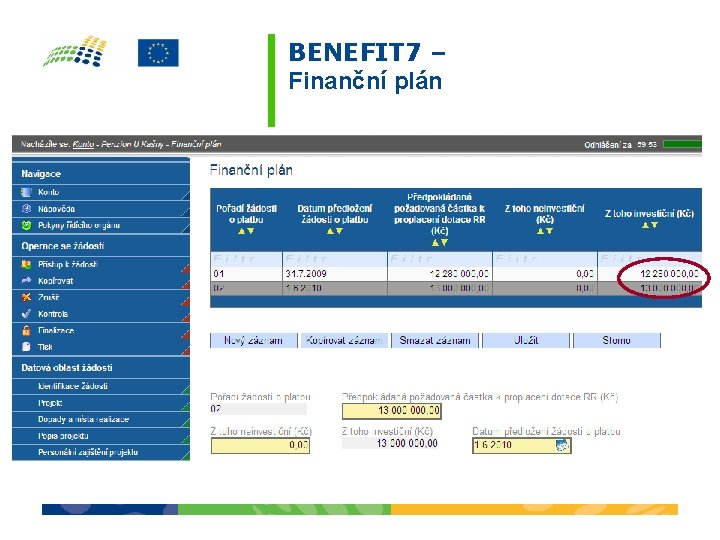 BENEFIT 7 – Finanční plán