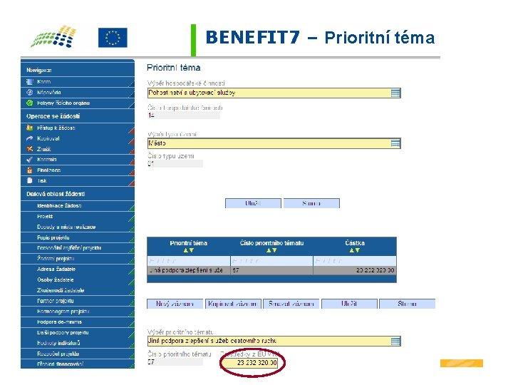 BENEFIT 7 – Prioritní téma