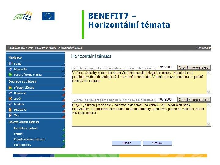 BENEFIT 7 – Horizontální témata