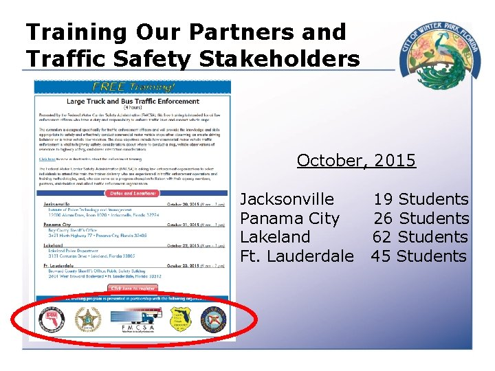 Training Our Partners and Traffic Safety Stakeholders October, 2015 Jacksonville Panama City Lakeland Ft.