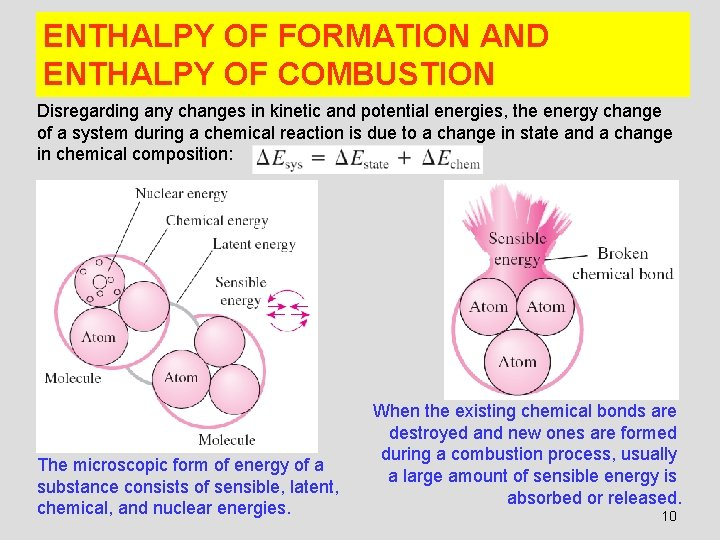 ENTHALPY OF FORMATION AND ENTHALPY OF COMBUSTION Disregarding any changes in kinetic and potential