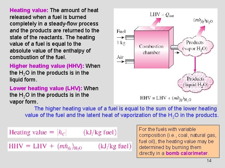 Heating value: The amount of heat released when a fuel is burned completely in