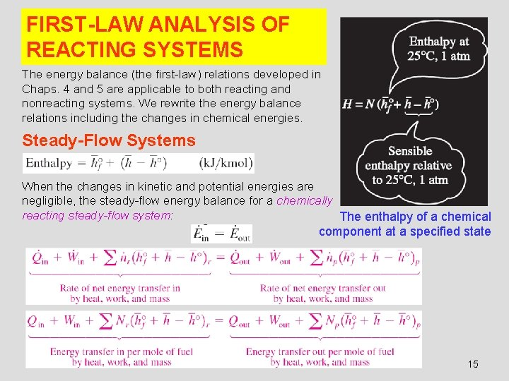 FIRST-LAW ANALYSIS OF REACTING SYSTEMS The energy balance (the first-law) relations developed in Chaps.