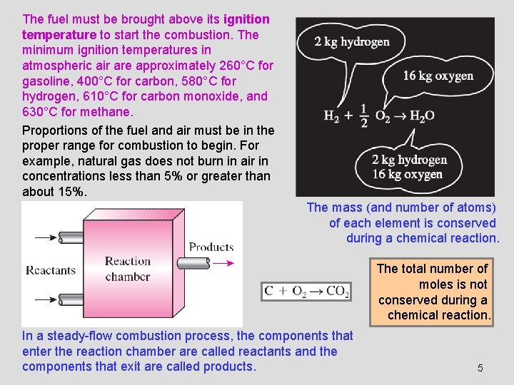 The fuel must be brought above its ignition temperature to start the combustion. The
