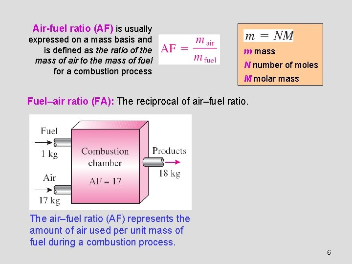 Air-fuel ratio (AF) is usually expressed on a mass basis and is defined as