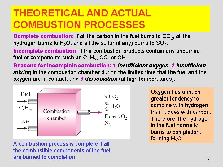 THEORETICAL AND ACTUAL COMBUSTION PROCESSES Complete combustion: If all the carbon in the fuel