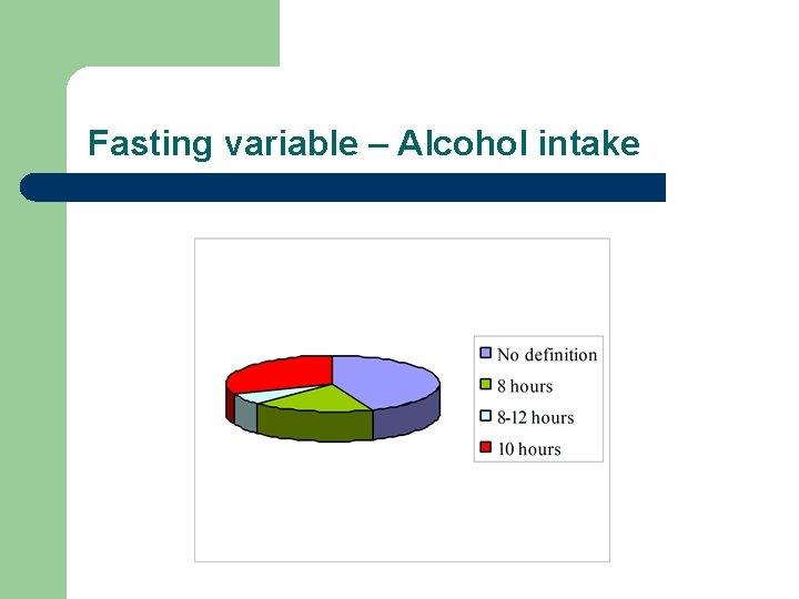Fasting variable – Alcohol intake