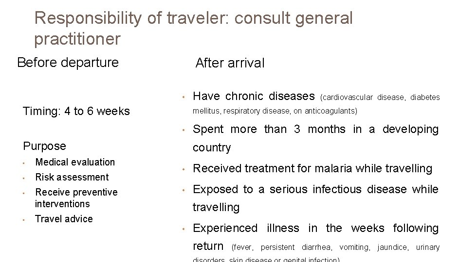 Responsibility of traveler: consult general practitioner Before departure After arrival • Timing: 4 to