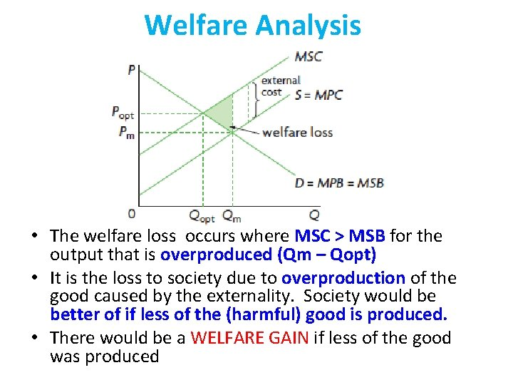 Welfare Analysis • The welfare loss occurs where MSC > MSB for the output