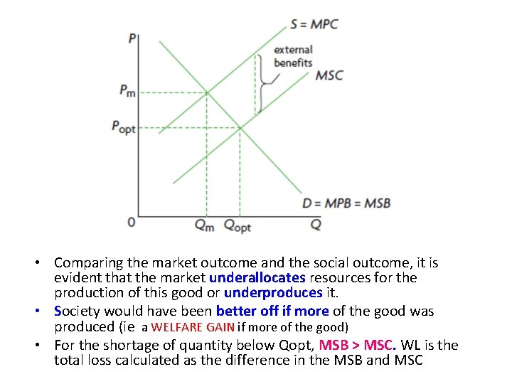 • Comparing the market outcome and the social outcome, it is evident that