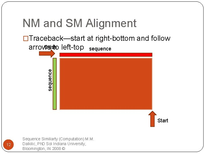 NM and SM Alignment �Traceback—start at right-bottom and follow sequence finish arrows to left-top