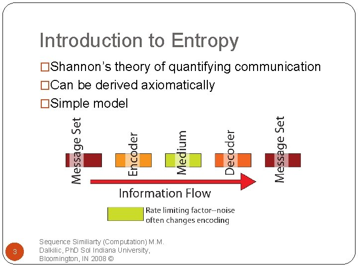 Introduction to Entropy �Shannon's theory of quantifying communication �Can be derived axiomatically �Simple model