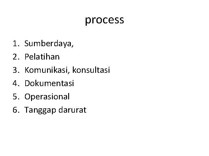 process 1. 2. 3. 4. 5. 6. Sumberdaya, Pelatihan Komunikasi, konsultasi Dokumentasi Operasional Tanggap