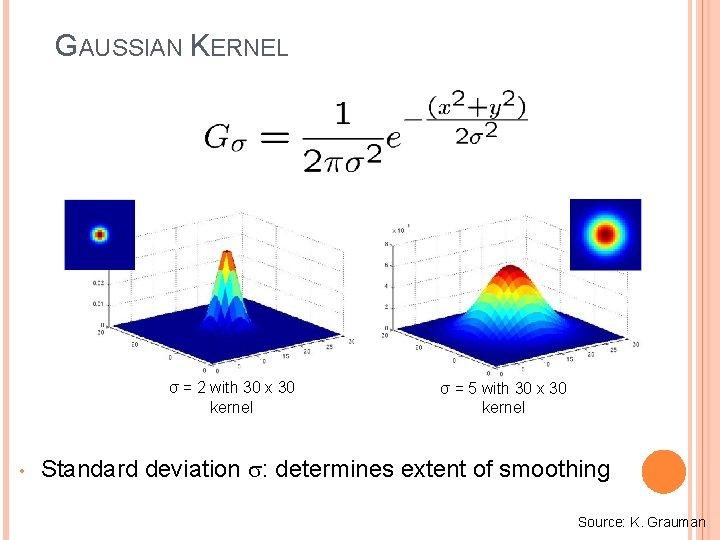 GAUSSIAN KERNEL σ = 2 with 30 x 30 kernel • σ = 5