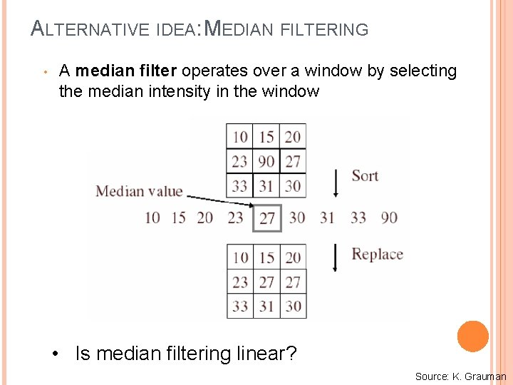 ALTERNATIVE IDEA: MEDIAN FILTERING • A median filter operates over a window by selecting