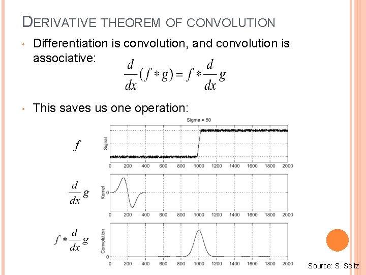 DERIVATIVE THEOREM OF CONVOLUTION • Differentiation is convolution, and convolution is associative: • This