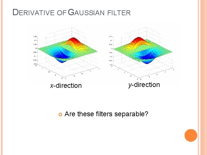 DERIVATIVE OF GAUSSIAN FILTER x-direction y-direction Are these filters separable?