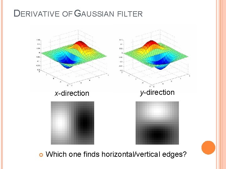 DERIVATIVE OF GAUSSIAN FILTER x-direction y-direction Which one finds horizontal/vertical edges?