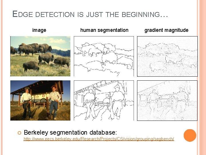 EDGE DETECTION IS JUST THE BEGINNING… image human segmentation gradient magnitude Berkeley segmentation database: